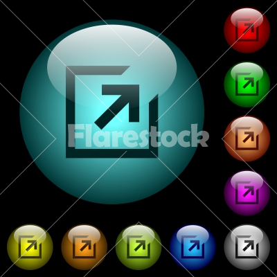 Export with inner arrow icons in color illuminated glass buttons - Export with inner arrow icons in color illuminated spherical glass buttons on black background. Can be used to black or dark templates
