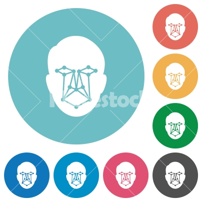 Face recognition flat round icons - Face recognition flat white icons on round color backgrounds