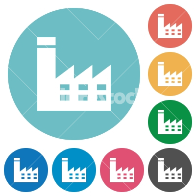 Factory building flat round icons - Factory building flat white icons on round color backgrounds