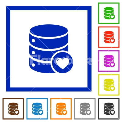 Favorite database flat framed icons - Favorite database flat color icons in square frames on white background