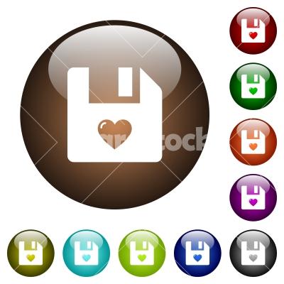 Favorite file color glass buttons - Favorite file white icons on round color glass buttons