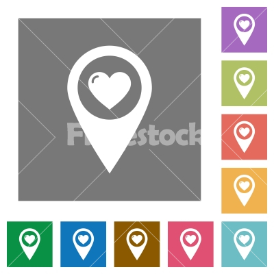 Favorite GPS map location square flat icons - Favorite GPS map location flat icons on simple color square backgrounds