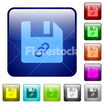 File attachment color square buttons - File attachment icons in rounded square color glossy button set