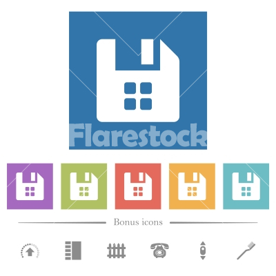 File components flat white icons in square backgrounds - File components flat white icons in square backgrounds. 6 bonus icons included.