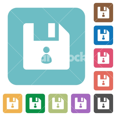 File owner rounded square flat icons - File owner white flat icons on color rounded square backgrounds