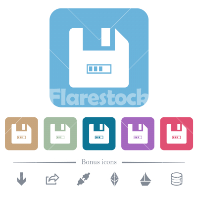 File progressing flat icons on color rounded square backgrounds - File progressing white flat icons on color rounded square backgrounds. 6 bonus icons included