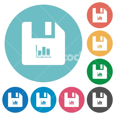 File statistics flat round icons - File statistics flat white icons on round color backgrounds