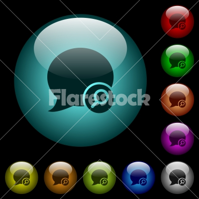 Find blog comment icons in color illuminated glass buttons - Find blog comment icons in color illuminated spherical glass buttons on black background. Can be used to black or dark templates