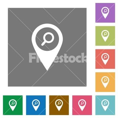 Find GPS map location square flat icons - Find GPS map location flat icons on simple color square backgrounds