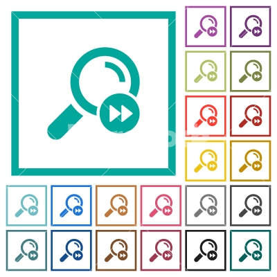 Find last search result flat color icons with quadrant frames - Find last search result flat color icons with quadrant frames on white background