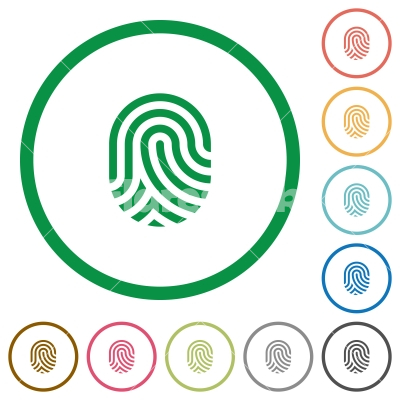 Fingerprint flat icons with outlines - Fingerprint flat color icons in round outlines on white background