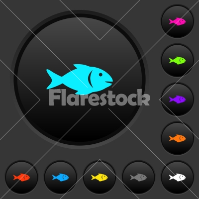 Fish dark push buttons with color icons - Fish dark push buttons with vivid color icons on dark grey background