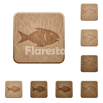Fish wooden buttons - Fish on rounded square carved wooden button styles