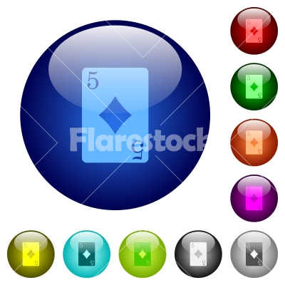 Five of diamonds card color glass buttons - Five of diamonds card icons on round color glass buttons