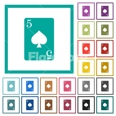 Five of spades card flat color icons with quadrant frames - Five of spades card flat color icons with quadrant frames on white background - Free stock vector