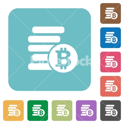 Flat Bitcoins icons - Flat Bitcoins icons on rounded square color backgrounds.