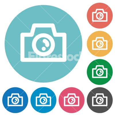 Flat camera icons - Flat camera icon set on round color background.