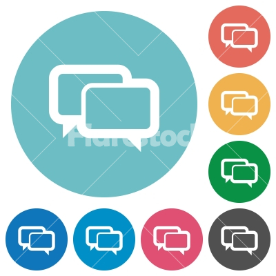 Flat chat bubbles icons - Flat chat bubbles icon set on round color background.