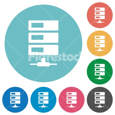 Flat data network icons - Flat data network icon set on round color background.