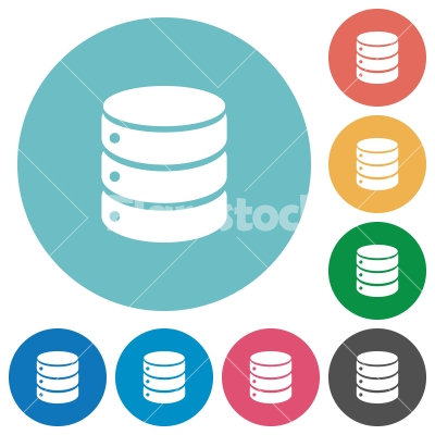 Flat database icons - Flat database icon set on round color background.