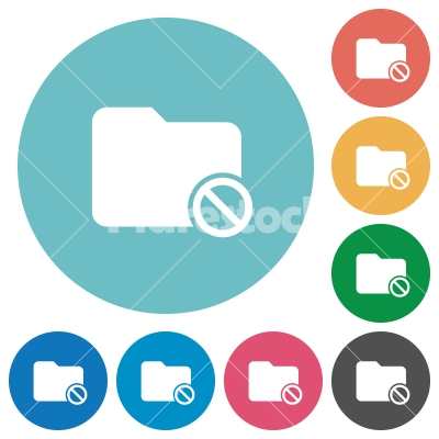 Flat disabled folder icons - Flat disabled folder icon set on round color background.