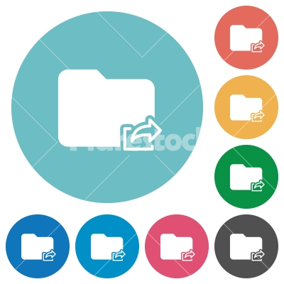 Flat export folder icons - Flat export folder icon set on round color background.