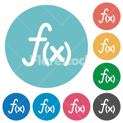Flat function icons - Flat function icon set on round color background.