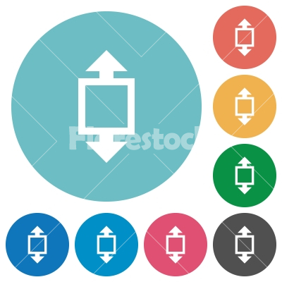 Flat height tool icons - Flat height tool icon set on round color background.