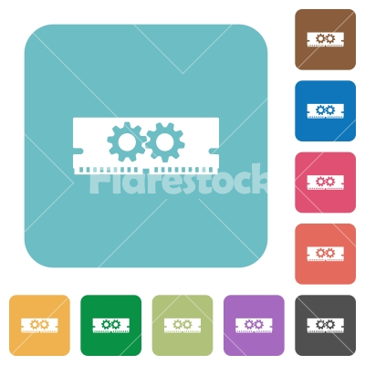Flat memory optimization icons - Flat memory optimization icons on rounded square color backgrounds.