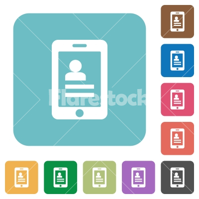 Flat mobile contacts icons - Flat mobile contacts icons on rounded square color backgrounds. - Free stock vector