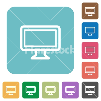 Flat monitor icons - Flat monitor icons on rounded square color backgrounds.