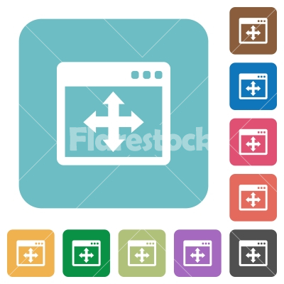 Flat move window icons - Flat move window icons on rounded square color backgrounds.