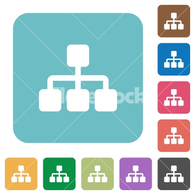 Flat network icons - Flat network icons on rounded square color backgrounds.