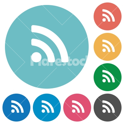 Flat radio signal icons - Flat radio signal icon set on round color background.