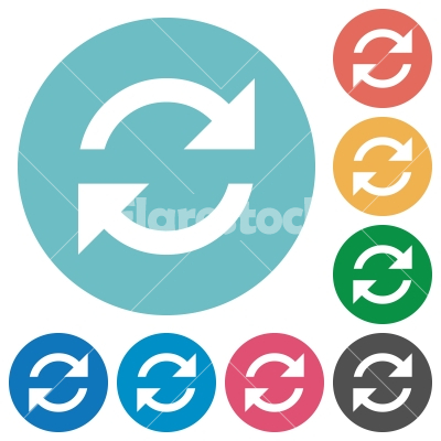 Flat refresh icons - Flat refresh icon set on round color background. 8 color variations included with light teme. - Free stock vector
