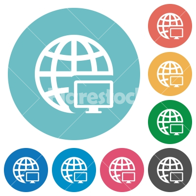 Flat remote terminal icons - Flat remote terminal icon set on round color background.
