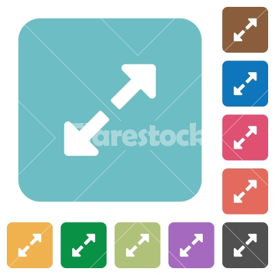 Flat resize full icons - Flat resize full icons on rounded square color backgrounds.