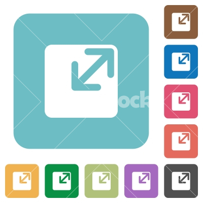 Flat resize window icons - Flat resize window icons on rounded square color backgrounds.