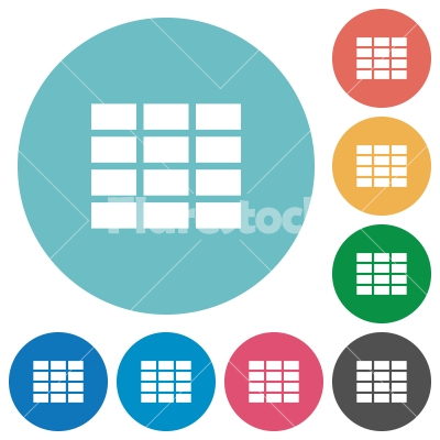 Flat table icons - Flat table icon set on round color background.