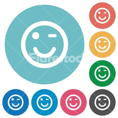 Flat winking emoticon icons - Flat winking emoticon icon set on round color background.