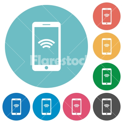 Flat wireless phone icons - Flat wireless phone icon set on round color background.
