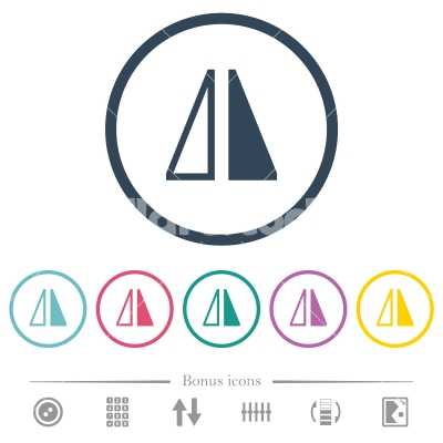 Flip horizontal flat color icons in round outlines - Flip horizontal flat color icons in round outlines. 6 bonus icons included.