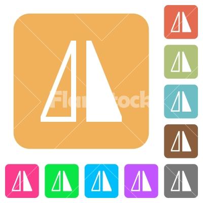 Flip horizontal rounded square flat icons - Flip horizontal flat icons on rounded square vivid color backgrounds.
