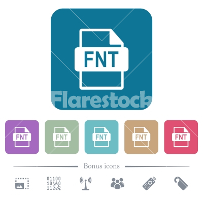 FNT file format flat icons on color rounded square backgrounds - FNT file format white flat icons on color rounded square backgrounds. 6 bonus icons included - Free stock vector