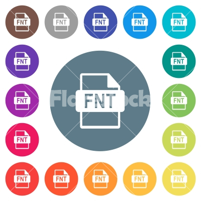 FNT file format flat white icons on round color backgrounds - FNT file format flat white icons on round color backgrounds. 17 background color variations are included.