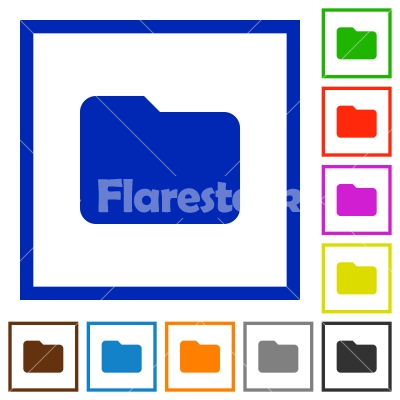 Folder framed flat icons - Set of color square framed folder flat icons on white background