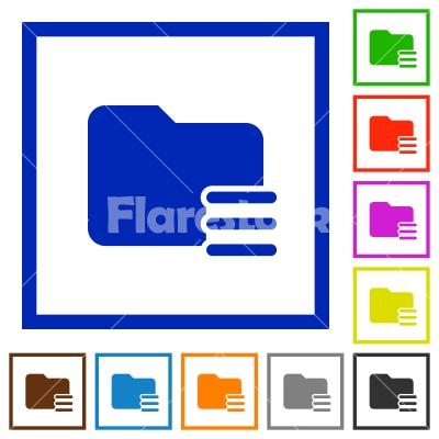 Folder options framed flat icons - Set of color square framed Folder options flat icons - Free stock vector