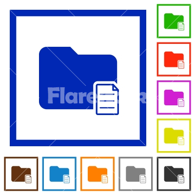 Folder properties flat framed icons - Folder properties flat color icons in square frames on white background
