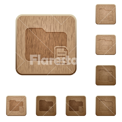 Folder properties wooden buttons - Set of carved wooden folder properties buttons in 8 variations.