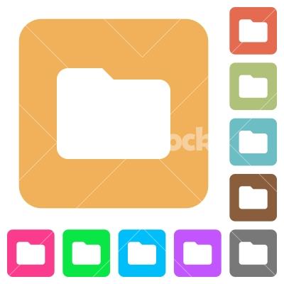 Folder rounded square flat icons - Folder flat icons on rounded square vivid color backgrounds.